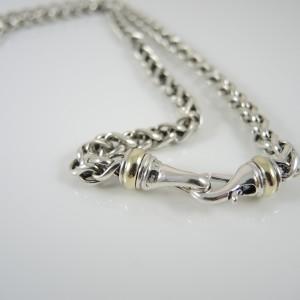 David Yurman Sterling Silver 14K Yellow Gold Wheat Chain Necklace