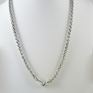 David Yurman Sterling Silver 14K Yellow Gold Wheat Chain Necklace