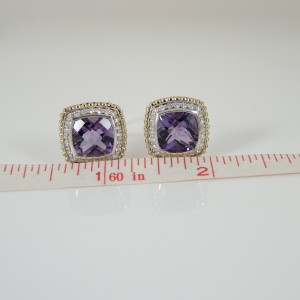Lagos Sterling Silver 18K Yellow Gold  Amethyst Diamond Prism Earrings