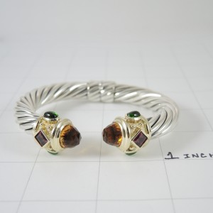 David Yurman 14K Yellow Gold and Sterling Silver Citrine Pink and Green Tourmaline Renaissance Bracelet