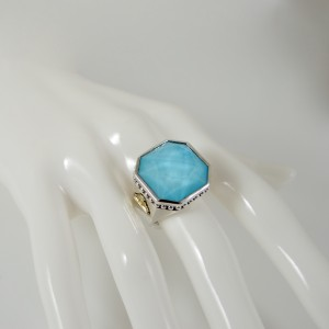 Lagos Sterling Silver 18K Yellow Gold and Turquoise Stone Doublet Color Rocks Ring Size 7