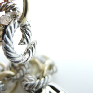 David Yurman Sterling Silver 18K Gold Medium Oval Link Lemon Citrine Albion Charm Bracelet