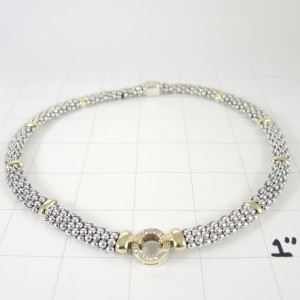 Lagos Sterling Silver & 18K Yellow Gold Diamond Circle Game Necklace