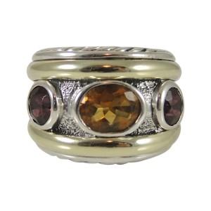 David Yurman Sterling Silver & 14K Yellow Gold Citrine Rhodolite Garnet Renaissance Cigar Band Ring