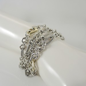 David Yurman Sterling Silver 18K Yellow Gold 4 Row Figaro Chain Cushion Donut Station Bracelet
