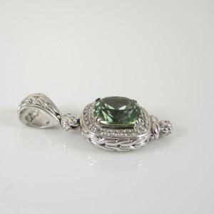 John Hardy Sterling Silver  Green Topaz Diamond Batu Pendant