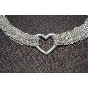 Tiffany & Co. Sterling Silver Heart Toggle Multi Chain Mesh Necklace