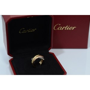 Cartier 18K Yellow, White & Rose Gold Trinity De Cartier Ring Sz 6