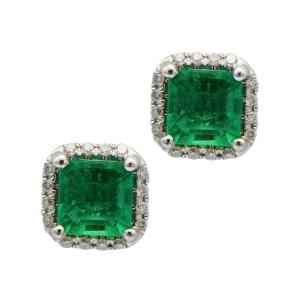 Sea Wave Diamonds 18k White Gold 0.17CT Diamond Pave 0.84CT Emerald Emerald and Diamond Earrings