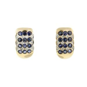 Two-Tone Citra Sapphire & Diamond Earrings