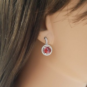 3.56 Carat Total Spessartite Garnet and Diamond Drop Earring