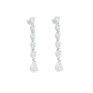 5.65 Carat Total Pear Shaped Diamond Dangle Earrings