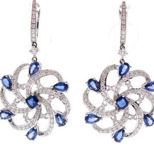 3.81 Carat Total Pear Shape Blue Sapphire and Diamond Earrings in 18 Karat Gold