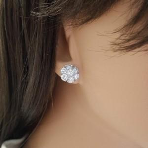 2.85 Carat Total Cluster Diamond Stud Earrings in 14 Karat White Gold