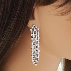 4.20 Carat Total Diamond Dangle Earrings in 14 Karat White Gold