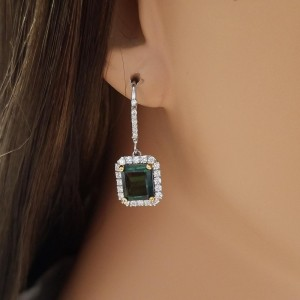5.35 Carat Total Emerald Cut Tourmaline And Diamond Earrings In 14K White Gold
