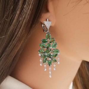 21.53 Carat Pear Shaped Tsavorite and Diamond Chandelier Earrings in White Gold