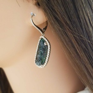 11.58 Carat Total Carved Emerald and Diamond Dangle Earrings in 14 Karat Gold
