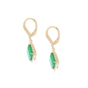 6.19 Carat Total Emerald and Diamond Dangle Earrings in 18 Karat Yellow Gold