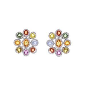 10.00 Carat Total Multi-Color Sapphire & Diamond Earrings in 18 Karat White Gold