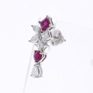 2.26 Carat Total Ruby and Diamond Earrings in 18 Karat White Gold