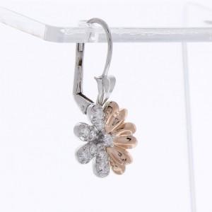 0.60 Carat Total Diamond Two-Tone Earrings in 18 Karat Gold