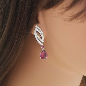 3.00 Carat Total Pear Shape Rubelite and Diamond Earrings in 18 Karat White Gold