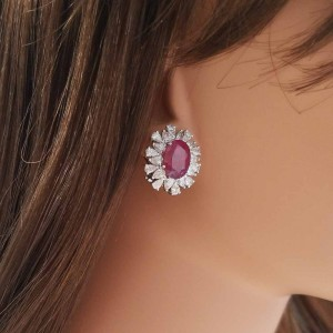 5.65 Carat Total Oval Ruby and Diamond Earrings in 18 Karat White Gold
