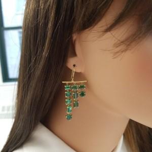 14.29 Carat Total Tsavorite Dangle Earrings in 18 Karat Yellow Gold