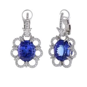 9.30 Carat Total Oval Tanzanite and Diamond Earrings in 18 Karat White Gold