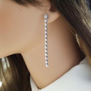 1.85 Carat Total Diamond Dangle Earrings in 14 Karat White Gold