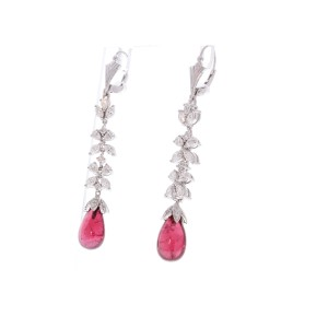12.70 Carat Total Briolette Rubelite and Marquise Diamond Earrings in 18K Gold