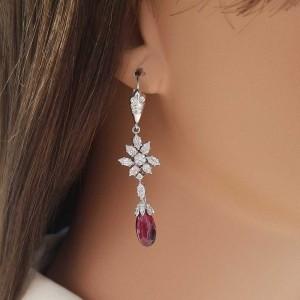 8.25 Carat Total Briolette Rubellite and Diamond Earrings in 18 Karat White Gold