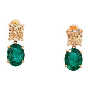 GIA Certified 2.41 Carat Total Fancy Light Yellow Radiant Cut Diamond Earring