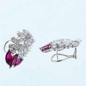 5 Carat Total Diamond and Ruby Earrings in 14 Karat White Gold