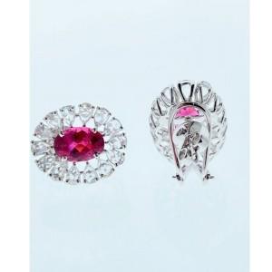 3.78 Carat Total Oval Rubelite and Rose Cut Diamond Earrings in 18 Karat Gold