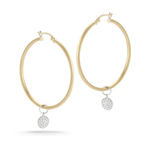 Yellow Gold Satin-finish 40mm Hoop Earrings