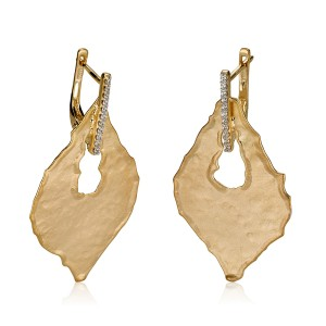 Yellow Gold Matte and Hammer-finish Gallery Leaf Earrings