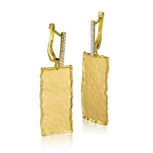 I.Reiss Matte And Hammer-Finish Rectangular-shaped Earrings