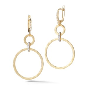 I.Reiss Matte And Hammer-Finish Dangling Round-shaped Earrings