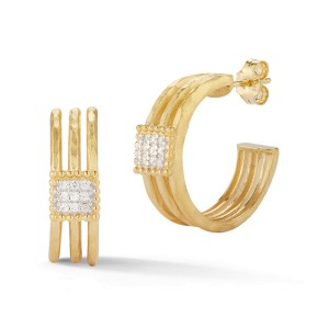 I.Reiss Matte And Hammer-Finished Hoop Earrings