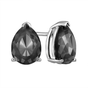 4ca71f24b610b 14K White Gold Luv Eclipse 1ct Patented Cut Treated Black Diamond Earrings