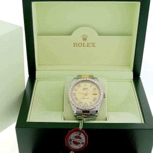 Rolex Datejust II 2-Tone Yellow Gold & Stainless Steel 41MM Automatic Mens Oyster Watch w/Roman Diamond Dial & 4CT Bezel 116333