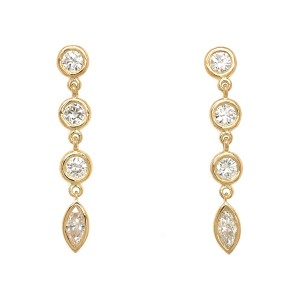 FAB DROPS 18k Yellow Gold Round and Marquise Diamond Drop Earrings