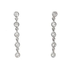FAB DROPS 14k White Gold Round Diamond Drop Earrings