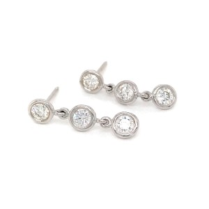 Fab Drops 14k White Gold Diamond Drop Earrings
