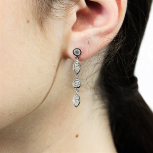 FAB DROPS 14k White Gold Round and Marquise Diamond Drop Earrings