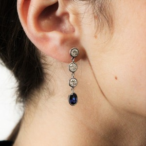 FAB DROPS - Diamond & Sapphire Drop Earrings