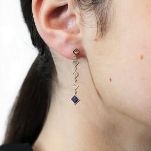 Fab Drops 18k Yellow Gold Princess Cut Diamond and Sapphire Drop Earrings