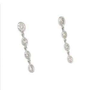 FAB DROPS 14K White Gold Oval Diamond Drop Earrings